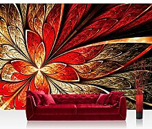 Vlies Fototapete 350x245 cm PREMIUM PLUS Wand Foto Tapete Wand Bild Vliestapete - YELLOW AND RED FLORAL ORNAMENT - Ornament abstrakt 3D Wand Rot Gelb Hintergrund - no. 115