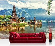 Vlies Fototapete 350x245 cm - Top ! PREMIUM PLUS Foto Tapete ! Wandbilder XXL Wandbild Bild Fototapeten Tapeten Wandtapete Wanddeko Wand Natur Bali Tempel - no. 248
