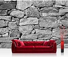 Vlies Fototapete 400x280 cm PREMIUM PLUS Wand Foto Tapete Wand Bild Vliestapete - BLACK AND WHITE STONE WALL - Steinmauer Steine Steinwand Steinoptik 3D Große Steine Felsen - no. 008