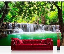 Vlies Fototapete 400x280 cm PREMIUM PLUS Wand Foto Tapete Wand Bild Vliestapete - DEEP FOREST WATERFALLS - Wasserfall Bäume Wald Thailand See Wasser Meer - no. 067