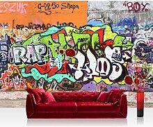 Vlies Fototapete 400x280 cm PREMIUM PLUS Wand Foto Tapete Wand Bild Vliestapete - GRAFFITI STONE WALL - Kinderzimmer Graffiti Streetart Graffitti Sprayer 3D bunt - no. 032