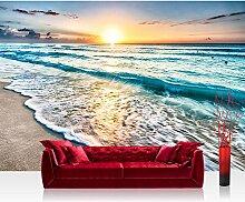 Vlies Fototapete 416x254 cm PREMIUM PLUS Wand Foto Tapete Wand Bild Vliestapete - Natur Tapete Sand Sonne Sonnenuntergang Wellen blau - no. 4338