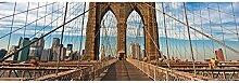 Vlies Fototapete BROOKLYN BRÜCKE 330 x 110 cm | Wandbilder XXL - Riesen Wandbild - Wand Dekoration - Vliestapete - Wandtapete | PREMIUM VLIES QUALITÄT