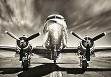 VLIES Fototapete- DC 3 ALTES FLUGZEUG-312x219cm-3