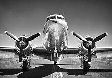 VLIES Fototapete- DC 3 ALTES FLUGZEUG-368x254 cm-4