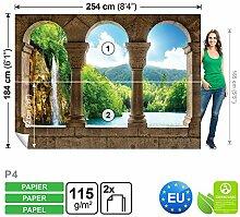 Vlies Fototapete Fototapeten Tapete Tapeten Foto WASSERFALL PARADISE 771 P4