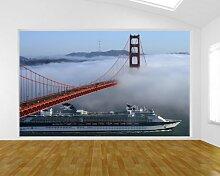 Vlies Fototapete - Golden Gate Bridge in San Francisco, Kalifornien - USA - 150x100 cm - inklusive Kleister - Tapetenkleister – Bild auf Tapete – Bildtapete – Foto auf Tapeten – Wand – Wandtapete – Vliestapete – Wanddeko - Design