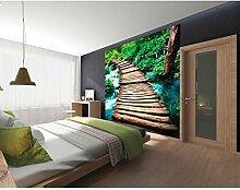 Vlies Fototapete HOLZSTEG 220 x 220 cm   Wandbilder XXL - Riesen Wandbild - Wand Dekoration - Vliestapete - Wandtapete   PREMIUM VLIES QUALITÄT