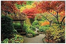 Vlies Fototapete JAPANISCHER GARTEN 330 x 220 cm | Wandbilder XXL - Riesen Wandbild - Wand Dekoration - Vliestapete - Wandtapete | PREMIUM VLIES QUALITÄT