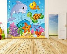 Vlies Fototapete - Kinderbild - Unterwasser Tiere