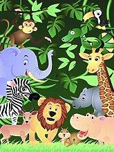 Vlies Fototapete - Kindertapete - Lustige Tiere im