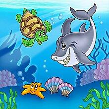 Vlies Fototapete - Kindertapete Unterwasser Tiere