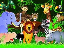 Vlies Fototapete - Kindertapete Wilde Tiere im