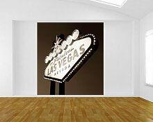 Vlies Fototapete - Las Vegas - sephia - sepia - 205x230 cm - inklusive Kleister - Tapetenkleister – Bild auf Tapete – Bildtapete – Foto auf Tapeten – Wand – Wandtapete – Vliestapete – Wanddeko - Design