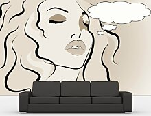 Vlies Fototapete - Pop Art Women - sephia - sepia - 360x230 cm - inklusive Kleister - Tapetenkleister – Bild auf Tapete – Bildtapete – Foto auf Tapeten – Wand – Wandtapete – Vliestapete – Wanddeko - Design