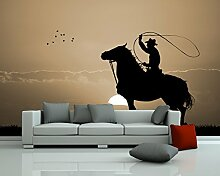 Vlies Fototapete - Rodeo Cowboy - sephia - sepia - 360x230 cm - inklusive Kleister - Tapetenkleister – Bild auf Tapete – Bildtapete – Foto auf Tapeten – Wand – Wandtapete – Vliestapete – Wanddeko - Design