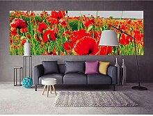 Vlies Fototapete ROTE MOHNBLUMEN 330 x 110 cm | Wandbilder XXL - Riesen Wandbild - Wand Dekoration - Vliestapete - Wandtapete | PREMIUM VLIES QUALITÄT