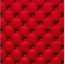 Vlies Fototapete ROTES CHESTERFIELD 220 x 220 cm | Wandbilder XXL - Riesen Wandbild - Wand Dekoration - Vliestapete - Wandtapete | PREMIUM VLIES QUALITÄT