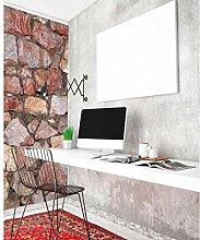 Vlies Fototapete STEINMAUER 110 x 220 cm | Wandbilder XXL - Riesen Wandbild - Wand Dekoration - Vliestapete - Wandtapete | PREMIUM VLIES QUALITÄT