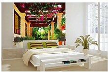 Vlies Fototapete TERRASSE MIT BLUMEN 220 x 220 cm   Wandbilder XXL - Riesen Wandbild - Wand Dekoration - Vliestapete - Wandtapete   PREMIUM VLIES QUALITÄT
