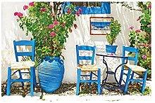 Vlies Fototapete TRADITIONELLES GRIECHENLAND 330 x 220 cm | Wandbilder XXL - Riesen Wandbild - Wand Dekoration - Vliestapete - Wandtapete | PREMIUM VLIES QUALITÄT