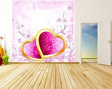 Vlies Fototapete - Valentinsherzen - 300x300 cm - inklusive Kleister - Tapetenkleister – Bild auf Tapete – Bildtapete – Foto auf Tapeten – Wand – Wandtapete – Vliestapete – Wanddeko - Design