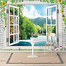 Vlies Fototapeten - Wandtapeten Fenster Ausblick Meer Natur KN-1071 (XL 350x245 cm 7-Bahnen)