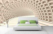Vlies Tapete 3D Tunnel abstrakt Fototapete weiss
