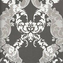 Vlies Tapete 48663 Barock Muster Ornament anthrazit grau silber metallic