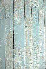 Vlies Tapete Antik Holz rustikal blau türkis beige verwitter