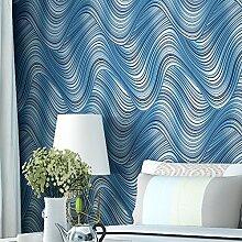 Vlies Tapete Blaue feine gestreifte Wellenmuster moderne einfache abstrakte Hintergrund Wanddekoration Tapete , blue