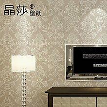 Vlies Tapete Continental 3D Damaskus Wohnzimmer TV-Wand Schlafzimmer Hintergrundbild von Studentenwohnheimen Schlafzimmer,Licht/Farbe