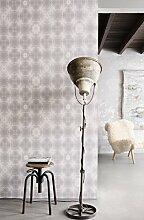 Vlies Tapete Design Retro Kreise weiß grau ethno look Glassy Punkte 218333