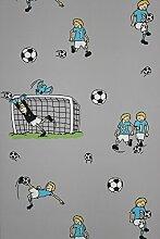 Vlies Tapete Fußball Kinder Jungen Zimmer Fussball Tapete grau türkis grün