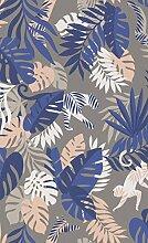 Vlies Tapete Kinder Zimmer Jungle blau grau Tiere