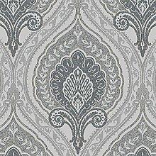 Vlies Tapete Klassisches Barock Ornament grau