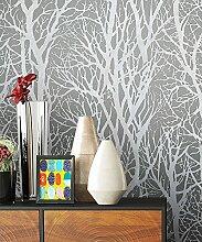 Vlies Tapete mit Baummuster Anthrazit Grau