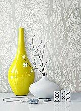 Vlies Tapete mit Baummuster Weiß Creme Metallic