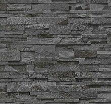 Vlies Tapete P+S EINFACH SCHÖNER 02363-40 Steine Mauer 3D Optik Grau Anthrazi