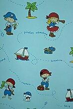 Vlies Tapete Piraten Kinder Zimmer Schiff Insel Schatzkiste blau Kinderzimmer 168-02