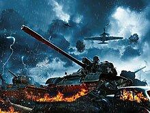 Vlies Tapete Poster Fototapete Panzer Krieg Farbe