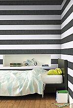 Vlies Tapete Streifen Muster schwarz weiss mit Perlmutt Schimmer VT-06-04-0
