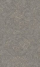 Vlies Tapete Textil Optik Ornamentale Kreise braun grau metallic Bazar 219414