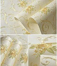 Vlies temporäre Selbstklebende, entfernbare Tapete Luxus Geprägt Blumenmuster Wandbild Tapete Stick und Schälen Rolle 53 x 300 cm