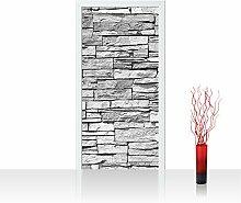 Vlies Türtapete 100x211 cm PREMIUM PLUS Tür Fototapete Türposter Türpanel Foto Tapete Bild - ASIAN STONE WALL - GREY - Steinwand Steintapete Wand Wall Asia Stone Asien - no. 127