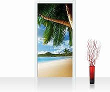 Vlies Türtapete 100x211 cm PREMIUM PLUS Tür Fototapete Türposter Türpanel Foto Tapete Bild - LONELY BEACH - Strand Meer Palmen Beach 3D Ozean Palme - no. 004