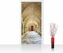 Vlies Türtapete 100x211 cm PREMIUM PLUS Tür Fototapete Türposter Türpanel Foto Tapete Bild - COLONNADED ARCADES - Arkaden 3D Perspektive Gewölbe Säulen Spanien - no. 065