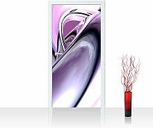 Vlies Türtapete 100x211 cm PREMIUM PLUS Tür Fototapete Türposter Türpanel Foto Tapete Bild - PURPLE CLIMAX - 3D Digital Art Abstrakt Schwung Wirbel blau rot lila - no. 009