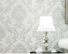 Vlies Wand Tapete Silber weiß geschnitzt für