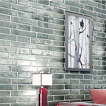Vliestapete 3D antike Ziegel Wandpapier Chinesischen Stil Retro-Tapete Aus rotem Backstein Tapete Wohnzimmer Schlafzimmer Teppichboden Tapete-B